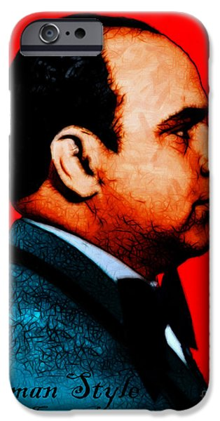 Gangman Style - Al Capone c28169 - Red - Painterly iPhone Case by Wingsdomain Art and Photography