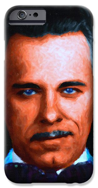 Gangman Style - John Dillinger 13225 - Black - Painterly iPhone Case by Wingsdomain Art and Photography