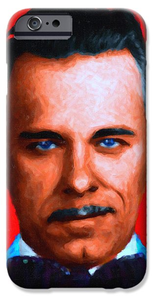 Gangman Style - John Dillinger 13225 - Red - Painterly - With Text iPhone Case by Wingsdomain Art and Photography