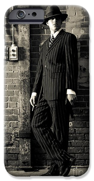 Pinstripes iPhone Cases - Gangster iPhone Case by Diane Diederich