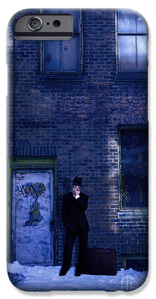 Abandoned Buildings iPhone Cases - Gangster on a Dark Street iPhone Case by Diane Diederich