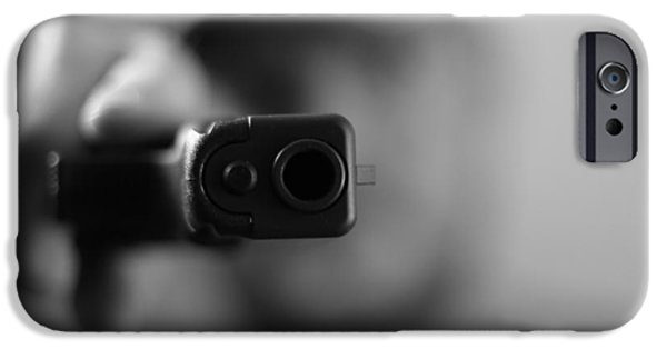 Weapon iPhone Cases - Gangster Shot iPhone Case by Dan Sproul