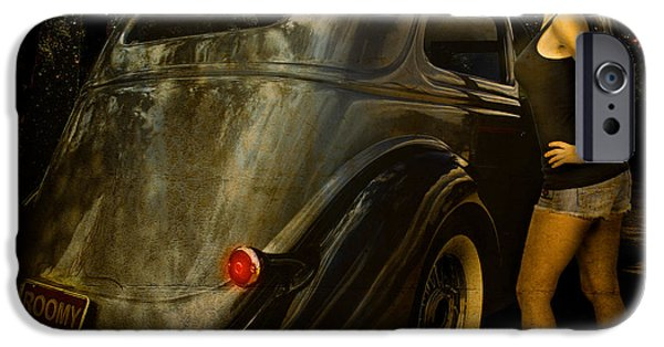 Betty Ford iPhone Cases - Gantts Garage 36 Sedan Roomy Calendar Page iPhone Case by Chas Sinklier