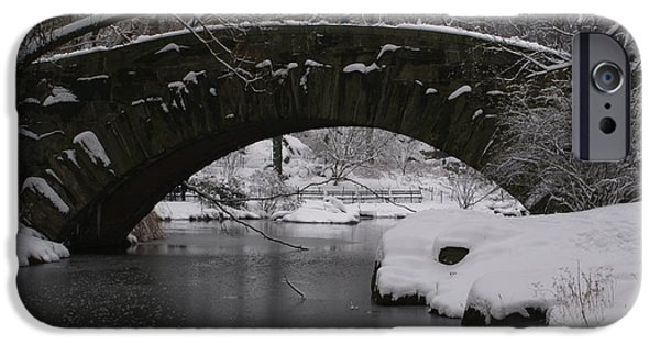 Nyc Pyrography iPhone Cases - Gapstow Bridge In Snow iPhone Case by Brooks Byrd