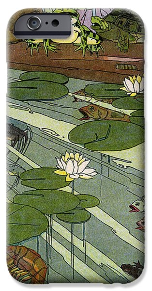 Etc. Digital Art iPhone Cases - Garada Clark Riley Living Pond with Frog Turtle Lily Pads Fish Crawfish Mouse Snail Lizard etc iPhone Case by Pierpont Bay Archives