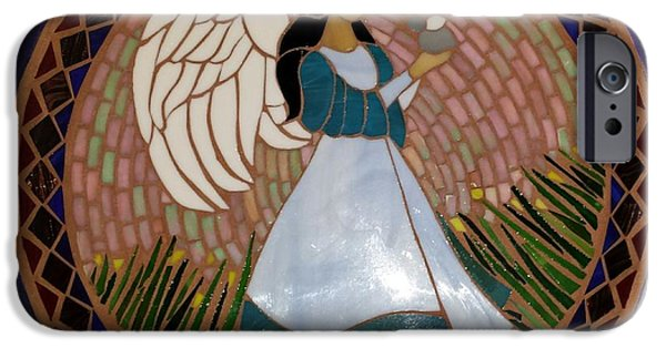 Angel Glass Art iPhone Cases - Garden Angel iPhone Case by Rosa Cardenas
