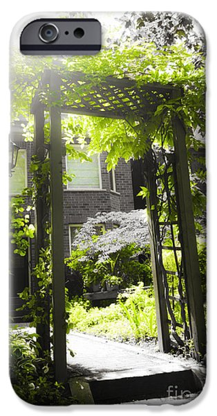 Arbor iPhone Cases - Garden arbor in sunlight iPhone Case by Elena Elisseeva