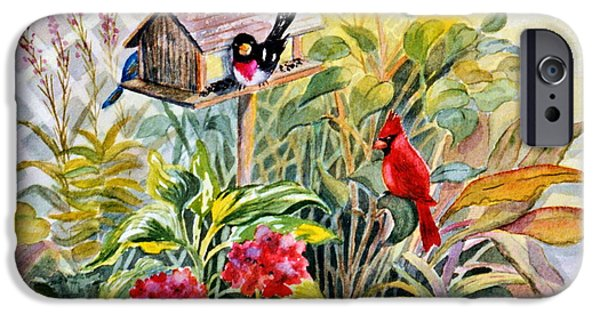 Marilyn Smith Paintings iPhone Cases - Garden Birds iPhone Case by Marilyn Smith