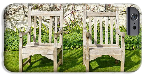Furniture iPhone Cases - Garden chairs iPhone Case by Tom Gowanlock