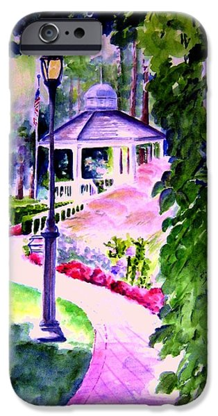 Garden Scene Paintings iPhone Cases - Garden City Gazebo iPhone Case by Sandy Ryan