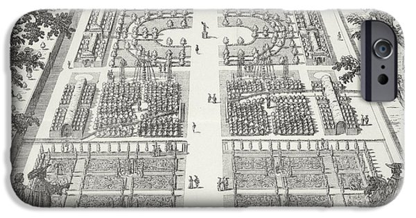 Pathway Drawings iPhone Cases - Garden design from The Gardens of Wilton iPhone Case by Isaac de Caus