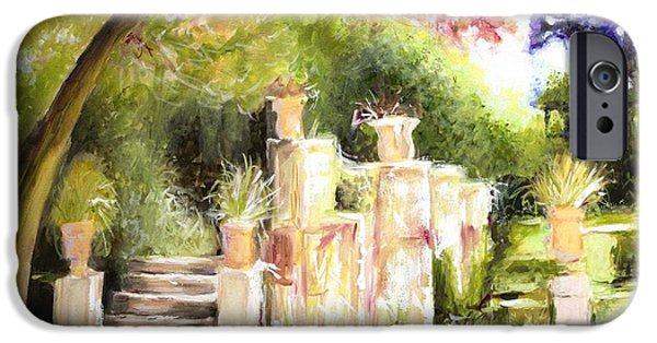 Sunlight On Pots Paintings iPhone Cases - Garden Entrance iPhone Case by Melissa Herrin