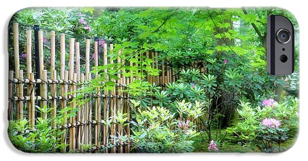 Bamboo Fence Photographs iPhone Cases - Garden Landscape iPhone Case by Ninie AG