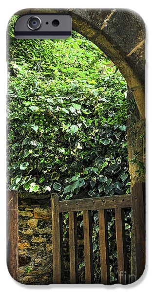 Culture iPhone Cases - Garden gate in Sarlat iPhone Case by Elena Elisseeva