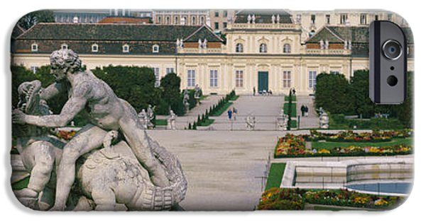 Garden Scene iPhone Cases - Garden In Front Of A Palace, Belvedere iPhone Case by Panoramic Images