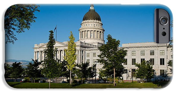 Capitol Hill iPhone Cases - Garden In Front Of Utah State Capitol iPhone Case by Panoramic Images