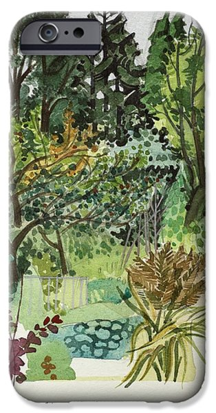Wales iPhone Cases - Garden In Llandielo, 1999 Watercolour On Paper iPhone Case by Anna Teasdale