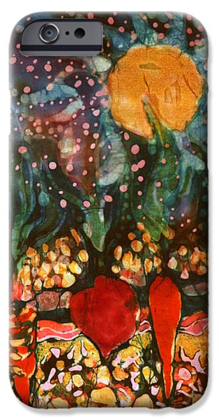 Food And Beverage Tapestries - Textiles iPhone Cases - Garden in Moonlight iPhone Case by Carol Law Conklin