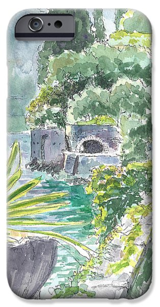 Pen And Ink iPhone Cases - Garden in Varenna iPhone Case by Laura Sapko