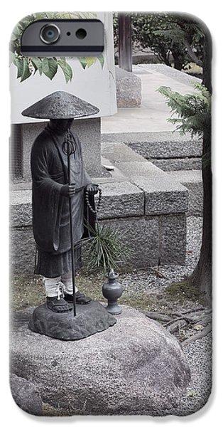 Garden Statuary iPhone Cases - Zen Temple Garden Monk - Kyoto Japan iPhone Case by Daniel Hagerman