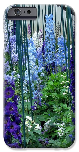 Garden Tapestries - Textiles iPhone Cases - Garden of Delphiniums iPhone Case by Mimi Saint DAgneaux
