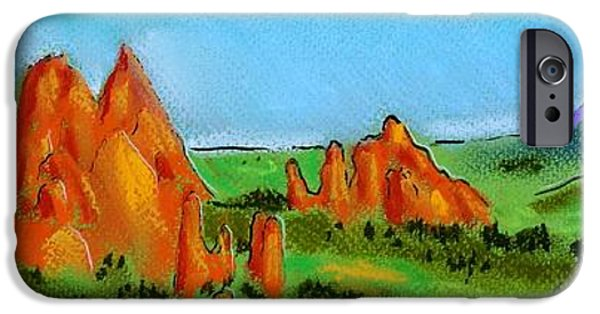 Red Rock Drawings iPhone Cases - Garden of the Gods iPhone Case by Danyl Cook