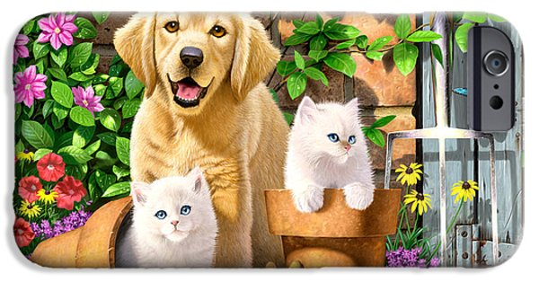 Domestic Animal iPhone Cases - Garden Pals iPhone Case by Chris Heitt