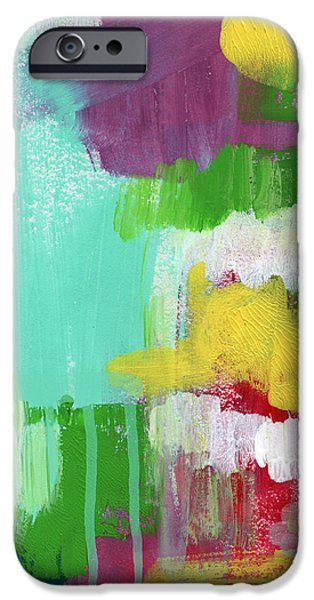 Painted Mixed Media iPhone Cases - Garden Path- Abstract Expressionist Art iPhone Case by Linda Woods