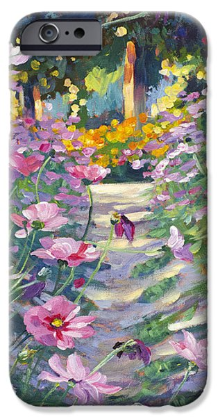 Pathway iPhone Cases - Garden Path of Cosmos iPhone Case by David Lloyd Glover