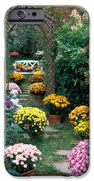 Garden Statuary iPhone Cases - Garden Path With Potted Plants iPhone Case by Hans Reinhard