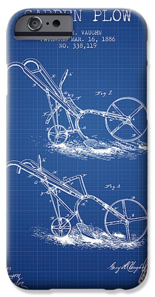 Plow iPhone Cases - Garden Plow Patent from 1886 - Blueprint iPhone Case by Aged Pixel