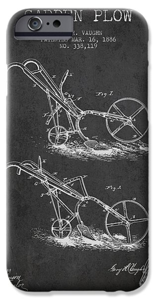 Plow iPhone Cases - Garden Plow Patent from 1886 - Dark iPhone Case by Aged Pixel