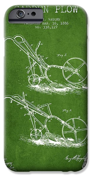 Plow iPhone Cases - Garden Plow Patent from 1886 - Green iPhone Case by Aged Pixel