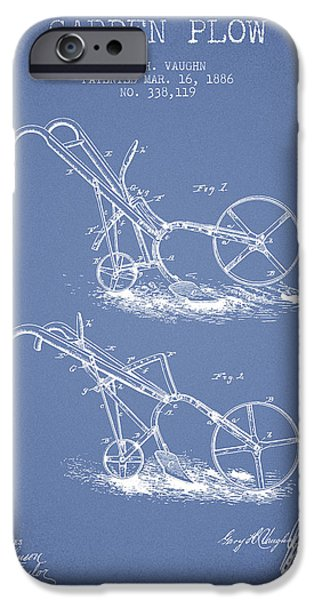 Plow iPhone Cases - Garden Plow Patent from 1886 - Light Blue iPhone Case by Aged Pixel