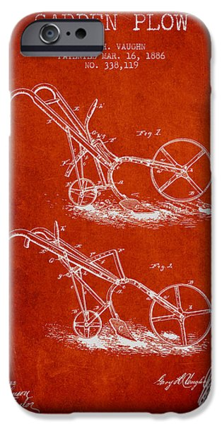 Plow iPhone Cases - Garden Plow Patent from 1886 - Red iPhone Case by Aged Pixel