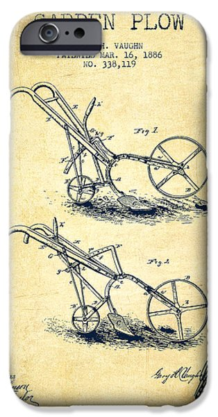 Plow iPhone Cases - Garden Plow Patent from 1886 - Vintage iPhone Case by Aged Pixel