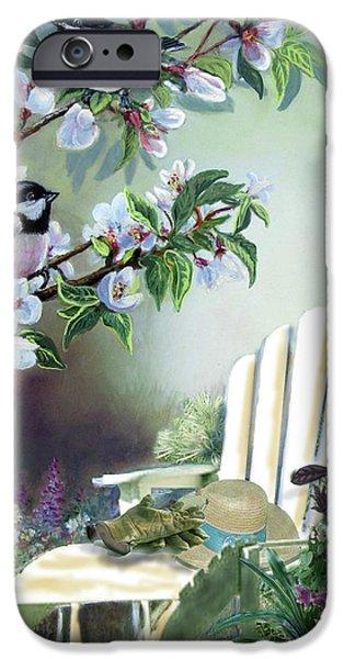 Garden Scene iPhone Cases - Garden scene chickadees in blossum tree iPhone Case by Gina Femrite