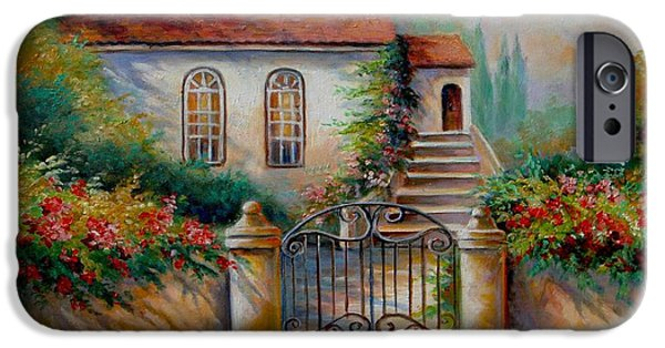 Garden Scene Paintings iPhone Cases - Garden scene with villa and gate iPhone Case by Gina Femrite