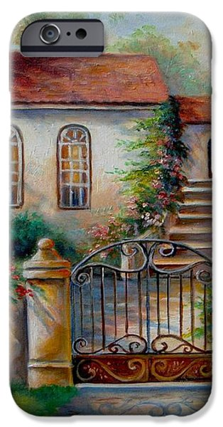 Garden scene with villa and gate iPhone Case by Gina Femrite