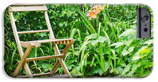 Furniture iPhone Cases - Garden seat iPhone Case by Tom Gowanlock