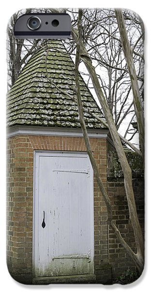 Historic Triangle iPhone Cases - Garden Shed Colonial Williamsburg iPhone Case by Teresa Mucha