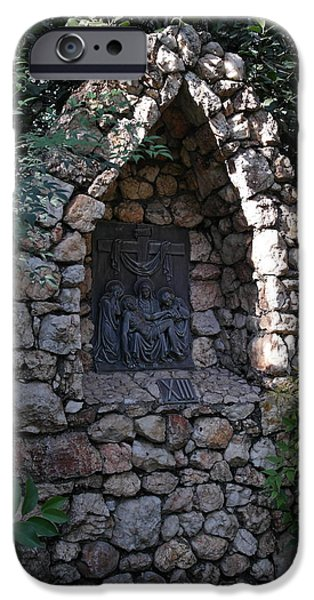 Wayside Cross iPhone Cases - Garden Shrine - 13th Station of the Cross iPhone Case by Michele Myers