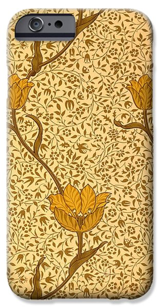 Design Tapestries - Textiles iPhone Cases - Garden Tulip Wallpaper Design iPhone Case by William Morris