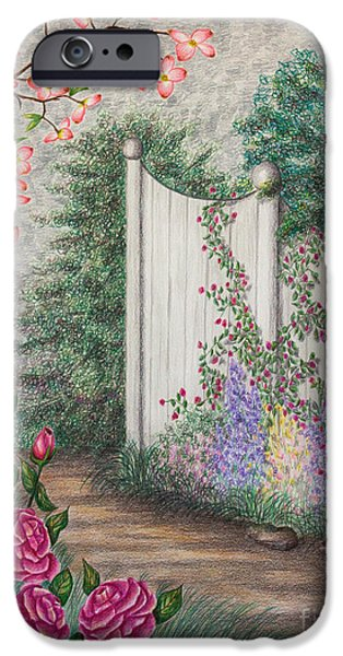 Fence Drawings iPhone Cases - Garden Walkway iPhone Case by Lena Auxier