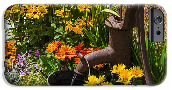 Rusty iPhone Cases - Garden Water Pump iPhone Case by Garry Gay