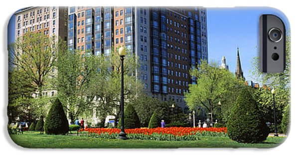 Boston iPhone Cases - Garden With A Building iPhone Case by Panoramic Images