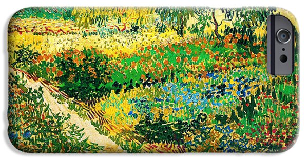 Garden Scene Paintings iPhone Cases - Garden with Flowers iPhone Case by Celestial Images