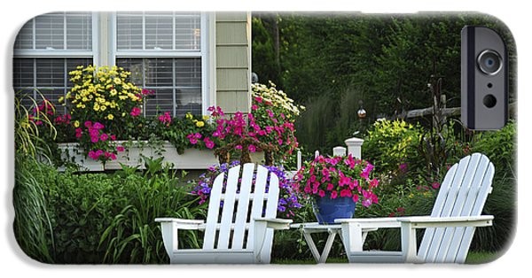 Formal iPhone Cases - Garden with lawn chairs iPhone Case by Elena Elisseeva