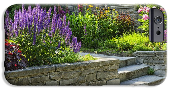 Stone Steps iPhone Cases - Garden with stone landscaping iPhone Case by Elena Elisseeva