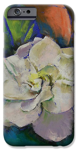 Michael Paintings iPhone Cases - Gardenia iPhone Case by Michael Creese